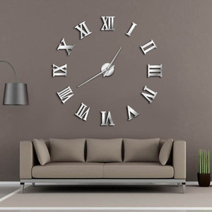 Modern DIY Large Wall Clock 3D Mirror Surface Sticker Home Decor Art Giant Wall Clock Watch With Roman Numerals Big