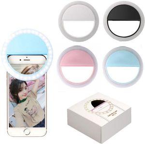 Für Iphone X Wiederaufladbare Universal-Luxus-intelligentes Telefon LED-Blitz leuchtet Selfie Luminous Telefon-Ring für iPhone und Android mit USB-Lade