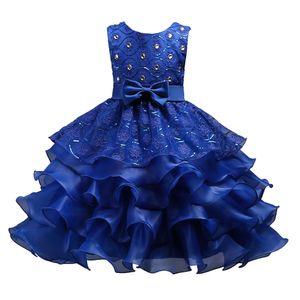 Lotusblatt Kleid 5Design Mädchen Rock Pailletten Prinzessin Kleider mit großen Bogen Diamanten gestickten Blumen 3-15 t