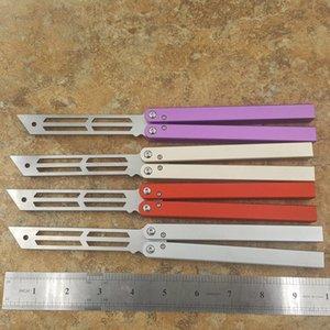 Balisong Triton Eğitici Kelebek eğitmen bıçak değil keskin bir kanal Alüminyum Hanldle yatak sistemi taç Omurga ve kenar