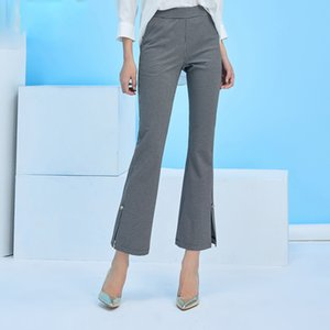 2018 Mujeres de la primavera Flare Pants Negro blanco Plaid Split Bell Pantalones inferiores Elegant Office Lady Formal Pants