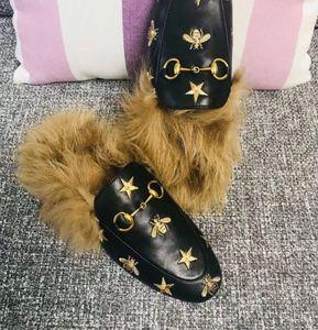 Gatto di piombo, Rihanna, pantofole di pelliccia, scarpe da donna, sandali, polsini alla moda, scivoli neri, scatole di alta qualità, taglia 35-41.