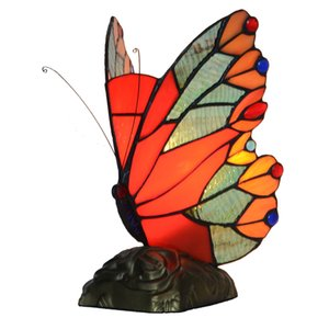 Red Butterfly Tiffany Estilo vitral Tabela pequena lâmpada Accent Lamp