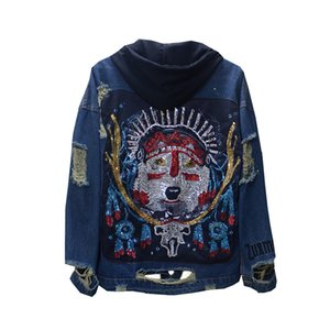 Unisexe Vêtements Nouveau mode élégant bleu Veste en jean charme Paillettes chien tête libre Jeans manteau à capuchon Street Wear Vestes Automne