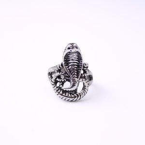 Vintage Männer Biker Punk Silber Edelstahl Ring Cobra Snake Head Band Cluster Ringe - Kostenloser Versand + Kostenloses Geschenk