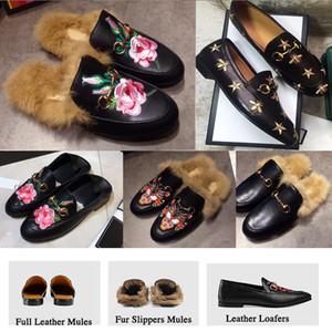 Femmes Chaussons Mules Flats pantoufles de fourrure hommes Flat Mocassins maison Chaussures Chaussures Casual Princetown extérieur Furry Diapositives Sandal