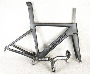 Plein fibre de carbone UD BOB Noir sur Noir CARROWTER carbone cadres de vélo de route + CARROWTER 3K C10 carbone guidon ensemble vente vente gratuite
