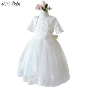 아이 니 베이브 빈티지 프린세스 걸스 화이트 드레스 웨딩 플라워 걸 드레스 자켓 베이비 어린이 의류 식 드레스