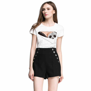 fashion creative Round collar girl's T-shirt black bra pattern printed Tops funny and personality Polyester & spandex fabric white T-shirt