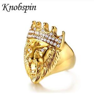 Tono d'oro da uomo Hip Hop ruggente Re Testa di leone e corona Anello CZ per uomo Roccia Acciaio inossidabile Pinky Anelli Gioielli maschili