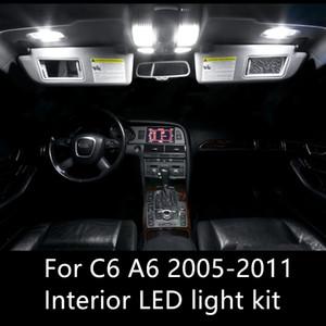 14 pcs Livre de erros Auto Lâmpadas LED Car Kit Luzes Interior Cúpula Lâmpadas Para Audi A6 C6 RS6 acessórios 2005-2011 luz interior LED