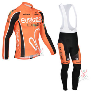 EUSKALTEL team Cycling long Sleeves jersey bib pants sets 2021 New arrival 3D gel pad Wholesale high Quality U40345