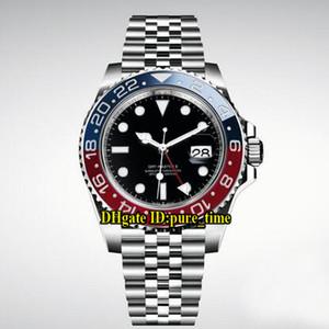 UR Fabrika 40mm Tarih GMT 126710 Siyah Kadran 126710BLRO-0001 Otomatik Mens Watch Kırmızı / Mavi Seramik Çerçeve Safir Cam Çelik SS Bant Saatler
