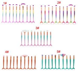 Nouveau 10cs / set pinceaux de maquillage sirène ensembles 3D colorés pinceau de maquillage de sirène Fondation Poudre Crème Blush Poisson Queue maquillage pinceaux