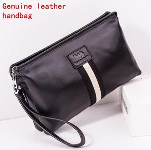 Fábrica de marca propia bolsa de hombres de cuero de múltiples funciones billetera de almacenamiento de cuero ocasional bolso de embrague de moda de cuero a rayas billetera para hombre