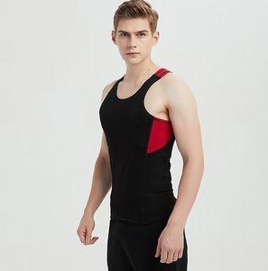 2018 hommes gilet glace coton coton été stretch body-building noir et blanc frappant couleur personnalité personnalité gilet