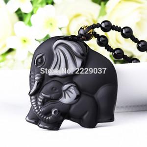 Trabalho manual chinês Natural Preto Obsidian Carved Mãe Bebê Bonito Elefante Amuleto Sorte Pingente de Colar de Jóias de Moda
