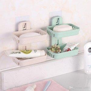 Venda quente de Trigo Caule Recorte Double Deck Soap Box Shower Shower Strong Otário Rack de Parede Reutilizável 3 5rb dd