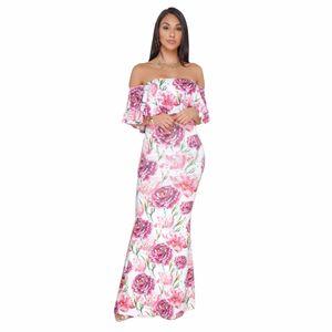 Floral Print Slash Neck Strapless Summer Dresses fashion Women Bandage bodycon Casual Sexy Long Maxi Dresses