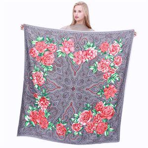 130*130cm Euro Retro Cashew Flower Printing 100% Silk Scarf Women Bandana Luxury Neckerchief Female Hijab Square Scarves Silk Foulard