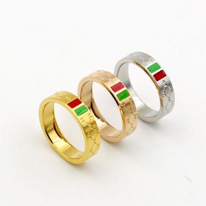 Aço inoxidável 316L marca anel de amor para as mulheres dos homens por atacado vermelho e verde listras Senhoras Anel de casamento três gotas