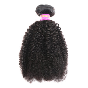 9A Afro Curly peruana Virgin Hair Extensions 3 Pacotes Natural Color Afro Kinky Curly 100% humano Tecelagem do cabelo 4B 4C Cabelo Humano
