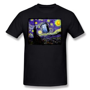 Special Men 100% Cotton The Tardis in the Starry Night Tee Shirts Men Round Collar White Short Sleeve T Shirt S-6XL Summer Tee Shirts