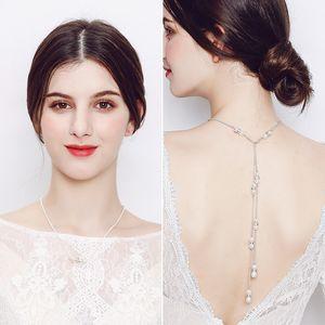 Mujeres Collar Largo Cadena Sexy Bare Back perla de plata Colgante Collar de Cadena Telón de fondo Playa Cuerpo Joyería Boda Novia accesorios JCK001