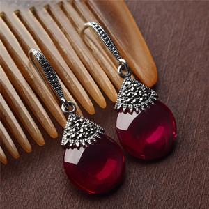 S925 Sterling Silver Opal Drop Boucles D'Oreilles Red Corundum Wedding Party 925 Boucles D'Oreilles En Argent Pour Les Femmes Bijoux LE36
