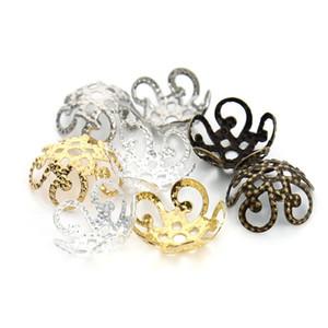 Flor hueca de filigrana de metal suelta espaciador Caps Beads plata oro bronce 200 unids / lote 11 mm DIY resultados de la joyería F1731