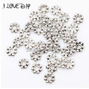 1000 قطع الفضة التبتية زهرة الخرز جولة المعادن ديزي الفواصل عجلة 4 ملليمتر ل صنع المجوهرات
