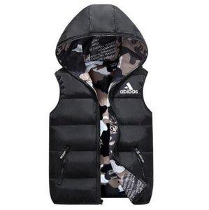 AD Yelek Erkekler Her Iki Tarafın Sonbahar Kış Sıcak Kolsuz Ceket Ordu Yelek erkek Yelek Moda Rahat Palto Erkekler Rüzgar Geçirmez Ceketler 809-1