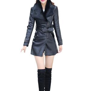 2018 Invierno Negro Cuello de piel sintética Mujeres Chaquetas Abrigos Pu Chaqueta de cuero Ropa delgada Cremallera Negro Largo Señoras Outwear