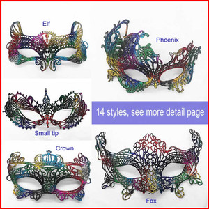 Rainbow Lace Shaped Crown Fox Half Eye Máscara Lady Masquerade Eye Mask Halloween Fiesta de Navidad Máscara