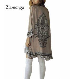 Ziamonga Vintage Nouveauté Été Totem Imprimé Soie Protection Au Soleil Cardigan Kimono Sun Shirt Femmes Vêtements Survêtement Femme Blouse