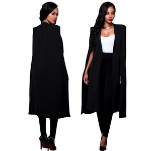 Printemps Automne Femmes Long Cape Blazers et Vestes 2018 Nouveau Noir Blanc Runway Cloak À Manches Longues Manteau Drapé