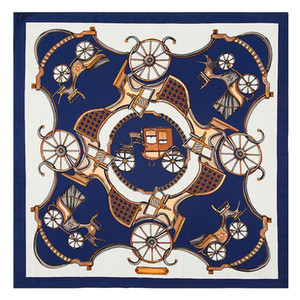 100% Seta Donna Piazza H Sciarpa Carrozza Design di lusso Foulard in Raso Femme Echarpe Piccole Signore Sciarpe Collo 60 * 60 CM All'ingrosso