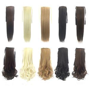 venta caliente Cola de caballo sintética Clip en extensiones de cabello Cola de caballo 50cm 90g sintético pelo liso más 8 colores Opcional FZP24