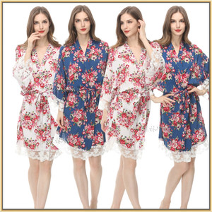 Bridesmaid Robes 2019 Custom Bridesmaid Gifts Cotton Print Floral Bridal Party Robes Long Sleeves M XXL