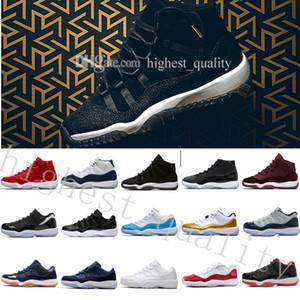 2018 Pas Cher NOUVEAU 11 XI Noir Or Velours Heiress Mens Femmes Basketball Chaussures Laine Sneakers s 11 s Formateurs Homme Sport Chaussures US 5.5-13 EUR 36-47