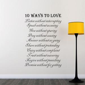 Dieci modi per amare gli adesivi murali Decorazioni per la casa Parete del soggiorno Decorativi decalcomanie in vinile rimovibile impermeabile arte murale