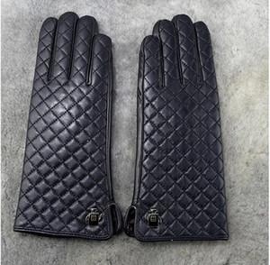 Femmes hiver top qualité en cuir véritable luxe original marque marque gants classique diamant treillis doux chaud en peau de mouton doigts