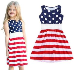 Roupas de menina do bebê meninas bandeira americana imprimir vestido de crianças Sem Mangas Listrado Princesa Vestido 2018 verão Boutique crianças crianças Roupas