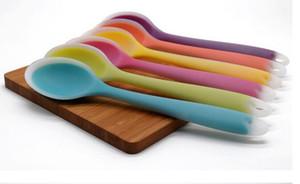 100 adet Yeni 270mm Evrensel Esnek Isıya Dayanıklı Silikon Kaşık Kazıyıcı Spatula Kürek Mutfak Aracı Gereçler Için Dondurma Kek