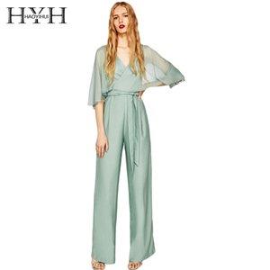 HYH HAOYIHUI 2018 섹시한 새로운 패션 여성 우아한 대조 쉬어 브리프 슬리브 슬리브 하이 웨이스트 솔리드 브이넥 점프 슈트
