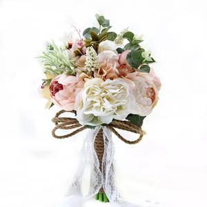우아한 인공 신부 부케 신부 브로치를 들고 손수 만든 꽃 라인 석 장미 결혼식 용품 공급 계약 De Noiva