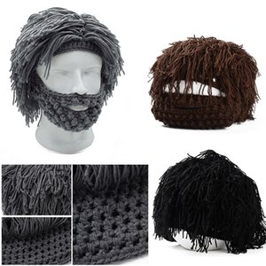 Wholesale 1 Set Funny Handmade Knitted Warm Winter Caps Wig Beard Hats Halloween Gift Party Mask Beanies Free Shipping