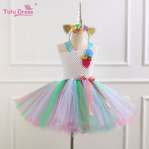 Nuevo Unicornio con Headwear Mesh Tutu Vestido de rendimiento infantil Dance Girls Clothing Princesa Puff vestidos formales Kids Girl Dress M035-1