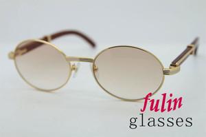 Libre del envío 18K oro de las gafas de madera de época marcos de metal gafas de sol de madera reales de los hombres de madera de época 7550178 Gafas de sol ovales