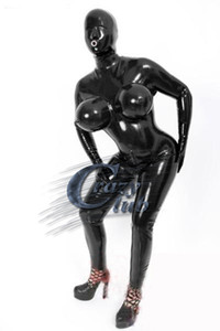 Crazy club_Sexy customize Women Wet Look Sexy Fetish Latex Catsuit With Inflatable Breasts Black Rubber Bodysuits Sale on line